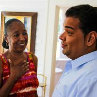 Attorney Juan LaFonta talking to happy client